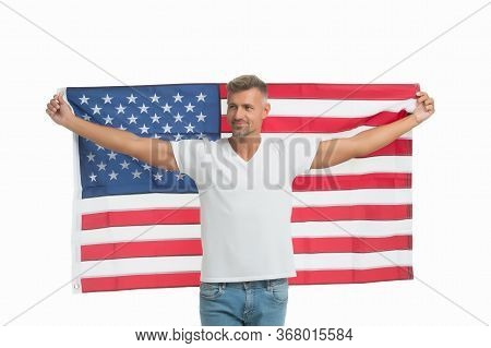 Proud Of His Land. Happy Guy Hold American Flag Isolated On White. American Man Celebrate Independen