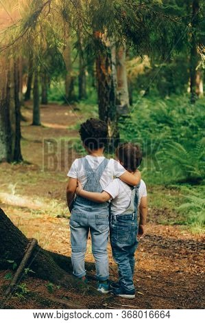 Two Little Boys, Friends Hug Each Other In Summer Sunny Day In The Forest. Brother Love. Back View.