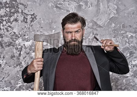 Barbershop Grooming. Barber Hold Razor And Axe. Bearded Man With Brutal Look. Retro Barbershop. Bear