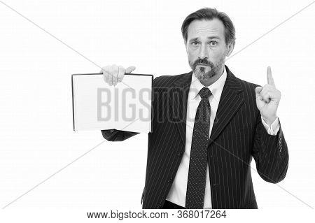 Business Idea. Mature Man Got Idea. Teacher Raises Finger Holding Open Book. Idea Or Business Plan.
