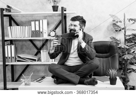 Mobile Conversation. Lunch Time Is Happy Time. Mental Wellbeing And Relax. Man Bearded Manager Forma