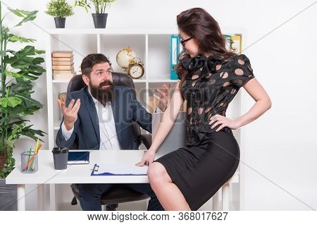 Corporate Secretary. Secretary Sit At Managers Desktop. Sexy Secretary And Director. Company Owner A