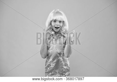 Anime Admirer. Girl Yellow Wig. Cosplay Character Concept. Japanese Style. Eastern Trends For Teens.