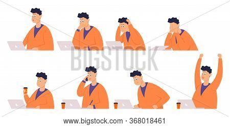 Set Of Poses Businessman With Different Emotions And Expressions. Side View. Color Vector Flat Carto