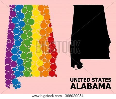 Rainbow Colored Mosaic Vector Map Of Alabama State For Lgbt, And Black Version. Geographic Mosaic Ma