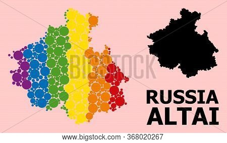 Rainbow Vibrant Collage Vector Map Of Altai Republic For Lgbt, And Black Version. Geographic Collage