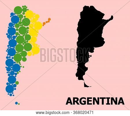 Spectrum Vibrant Mosaic Vector Map Of Argentina For Lgbt, And Black Version. Geographic Mosaic Map O