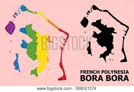 Spectrum Colored Collage Vector Map Of Bora-bora For Lgbt, And Black Version. Geographic Collage Map
