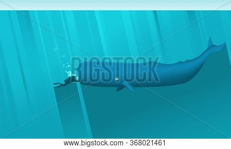 Scuba Diver And Large Sperm Whale Underwater. The Diver Gently Touches A Big Cute Cachalot. Whale Sm