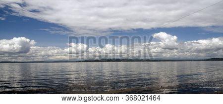 Richmond Beach Saltwater Park Horizon Line Under Cumulus Clouds