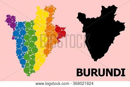 Spectrum Colored Mosaic Vector Map Of Burundi For Lgbt, And Black Version. Geographic Mosaic Map Of