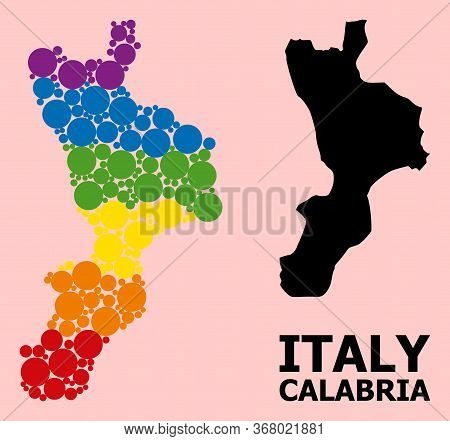 Rainbow Colored Mosaic Vector Map Of Calabria Region For Lgbt, And Black Version. Geographic Mosaic