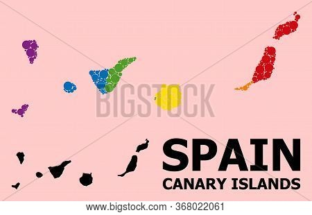 Spectrum Vibrant Mosaic Vector Map Of Canary Islands For Lgbt, And Black Version. Geographic Mosaic