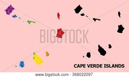 Spectrum Vibrant Collage Vector Map Of Cape Verde Islands For Lgbt, And Black Version. Geographic Co