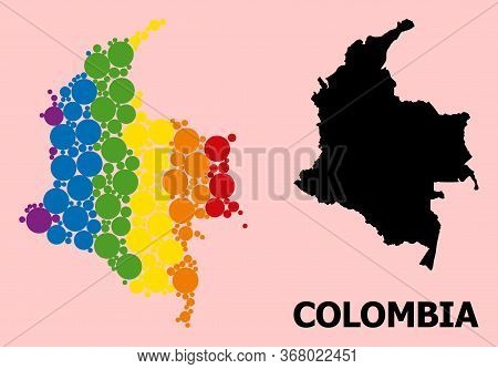 Rainbow Vibrant Mosaic Vector Map Of Colombia For Lgbt, And Black Version. Geographic Concept Map Of