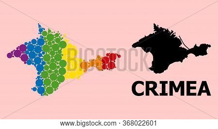 Rainbow Colored Collage Vector Map Of Crimea For Lgbt, And Black Version. Geographic Collage Map Of