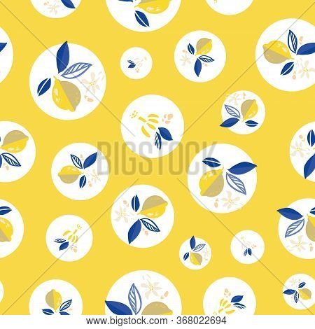 Mediterranean Lemon Vector Graphic Citrus Floral Dot Pattern. Hand Drawn Textured Citrus Fruit Patte