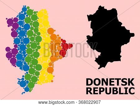 Rainbow Colored Mosaic Vector Map Of Donetsk Republic For Lgbt, And Black Version. Geographic Concep