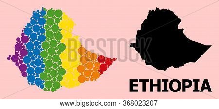 Rainbow Colored Mosaic Vector Map Of Ethiopia For Lgbt, And Black Version. Geographic Mosaic Map Of