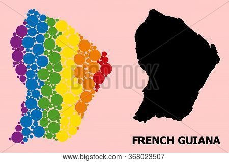 Rainbow Vibrant Mosaic Vector Map Of French Guiana For Lgbt, And Black Version. Geographic Mosaic Ma