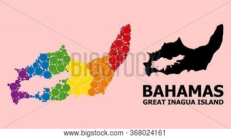 Spectrum Vibrant Mosaic Vector Map Of Great Inagua Island For Lgbt, And Black Version. Geographic Mo