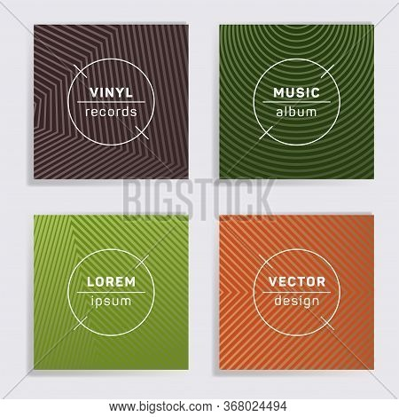 Retro Plate Music Album Covers Collection. Halftone Lines Backgrounds. Tech Plate Music Records Cove