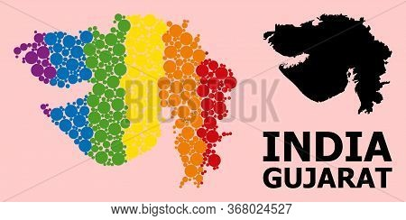 Rainbow Vibrant Collage Vector Map Of Gujarat State For Lgbt, And Black Version. Geographic Concept