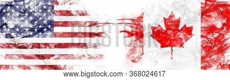 American Flag And Canadian Flag In Smoke Shape On White Background. Concept Of World Conflict And Wa