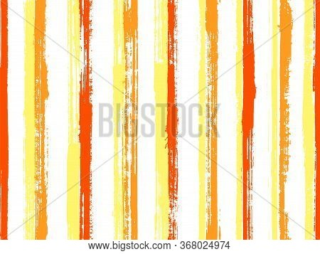 Watercolor Brush Stroke Straight Lines Vector Seamless Pattern. Variegated Bedding Textile Print Des