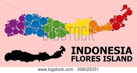 Rainbow Colored Mosaic Vector Map Of Indonesia - Flores Island For Lgbt, And Black Version. Geograph