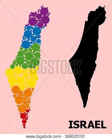 Spectrum Vibrant Mosaic Vector Map Of Israel For Lgbt, And Black Version. Geographic Mosaic Map Of I