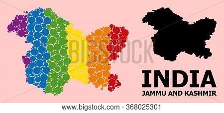 Rainbow Colored Mosaic Vector Map Of Jammu And Kashmir State For Lgbt, And Black Version. Geographic