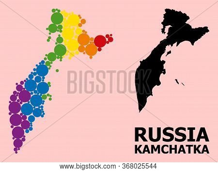 Spectrum Vibrant Collage Vector Map Of Kamchatka Peninsula For Lgbt, And Black Version. Geographic C
