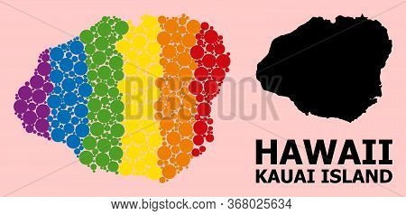Rainbow Vibrant Mosaic Vector Map Of Kauai Island For Lgbt, And Black Version. Geographic Mosaic Map