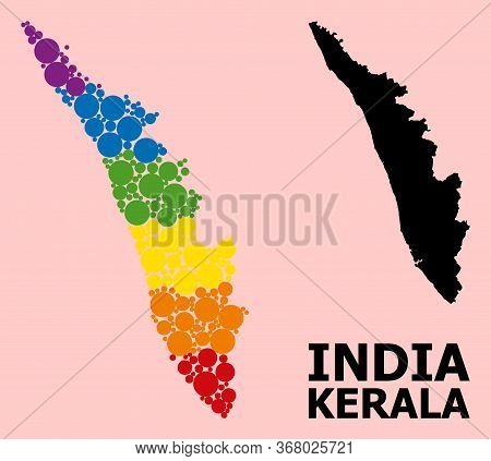 Spectrum Colored Collage Vector Map Of Kerala State For Lgbt, And Black Version. Geographic Concept