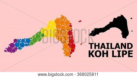 Spectrum Vibrant Mosaic Vector Map Of Koh Lipe For Lgbt, And Black Version. Geographic Mosaic Map Of