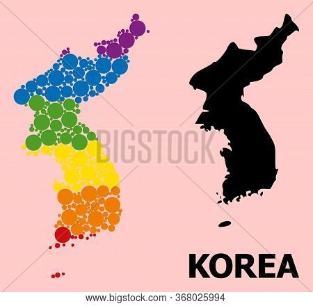 Rainbow Colored Mosaic Vector Map Of Korea For Lgbt, And Black Version. Geographic Concept Map Of Ko