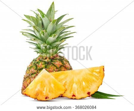 Single Object Of Pineapple Isolated On White Background