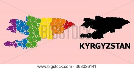 Rainbow Vibrant Mosaic Vector Map Of Kyrgyzstan For Lgbt, And Black Version. Geographic Concept Map