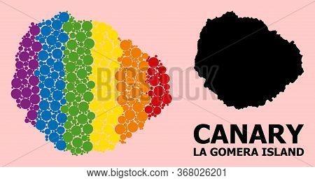 Rainbow Vibrant Collage Vector Map Of La Gomera Island For Lgbt, And Black Version. Geographic Colla