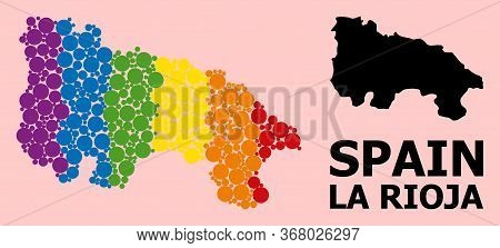 Rainbow Vibrant Collage Vector Map Of La Rioja Spanish Province For Lgbt, And Black Version. Geograp