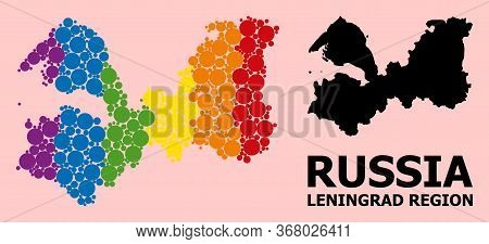 Rainbow Vibrant Collage Vector Map Of Leningrad Region For Lgbt, And Black Version. Geographic Colla
