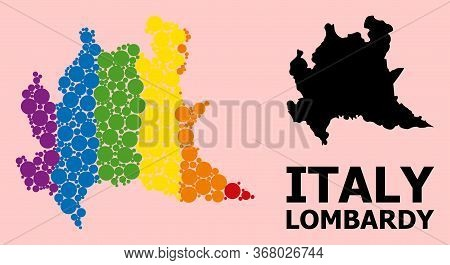 Rainbow Vibrant Mosaic Vector Map Of Lombardy Region For Lgbt, And Black Version. Geographic Mosaic