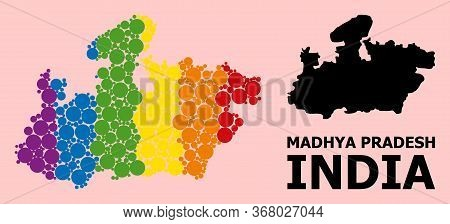 Rainbow Vibrant Collage Vector Map Of Madhya Pradesh State For Lgbt, And Black Version. Geographic C