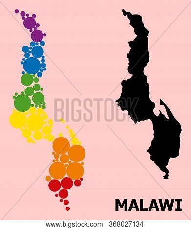Rainbow Vibrant Mosaic Vector Map Of Malawi For Lgbt, And Black Version. Geographic Mosaic Map Of Ma