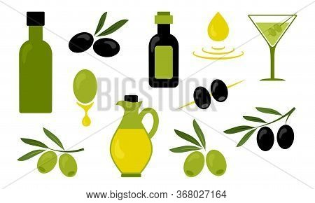 Olive Oil, Black And Green Branch Olives, Glass Of Martini, Jug And Bottles With Oil Isolated On Whi