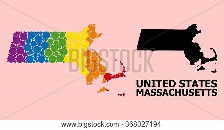 Spectrum Colored Collage Vector Map Of Massachusetts State For Lgbt, And Black Version. Geographic C
