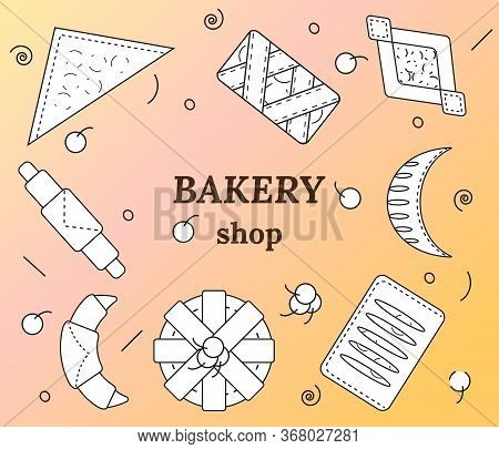 Set Of Bakery And Pastry Products In Outline Style. Croissants, Bagels, Puffs, Roll, Buns Of Puff Pa