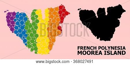 Rainbow Colored Pattern Vector Map Of Moorea Island For Lgbt, And Black Version. Geographic Concept