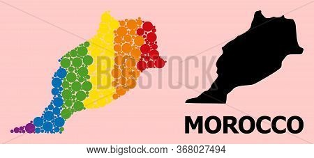 Spectrum Vibrant Pattern Vector Map Of Morocco For Lgbt, And Black Version. Geographic Concept Map O